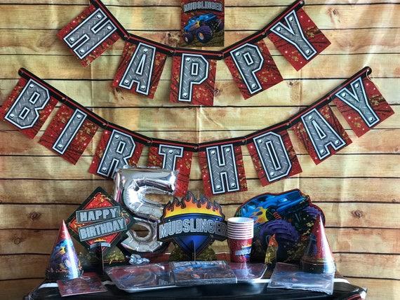 Die-cut Monster Truck Mud Birthday Party Invitations