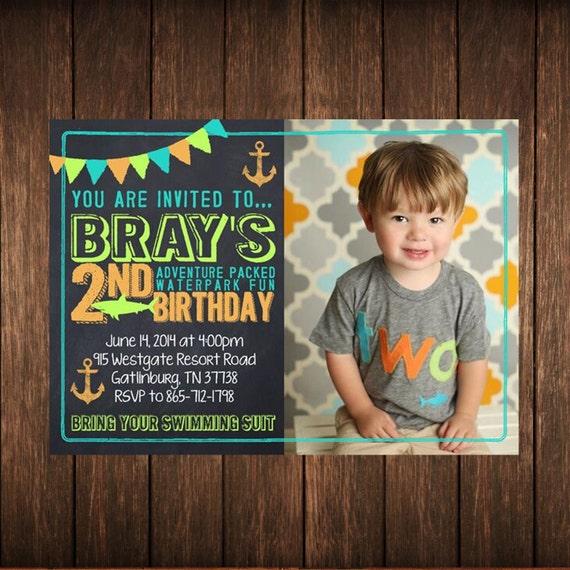 Chalkboard Shark Birthday Invitation