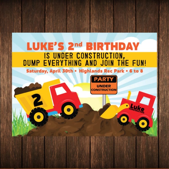 Country Farm Trucks & Tractors Birthday Invitation