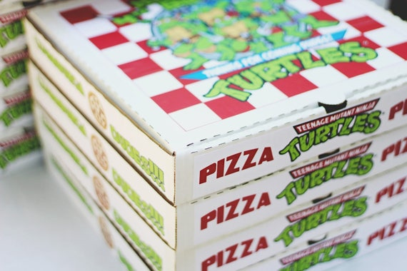 "Teenage Mutant Ninja Turtle Label Favor Pizza Boxes 10"" 12"" 14"" or Bakery Box 8"""