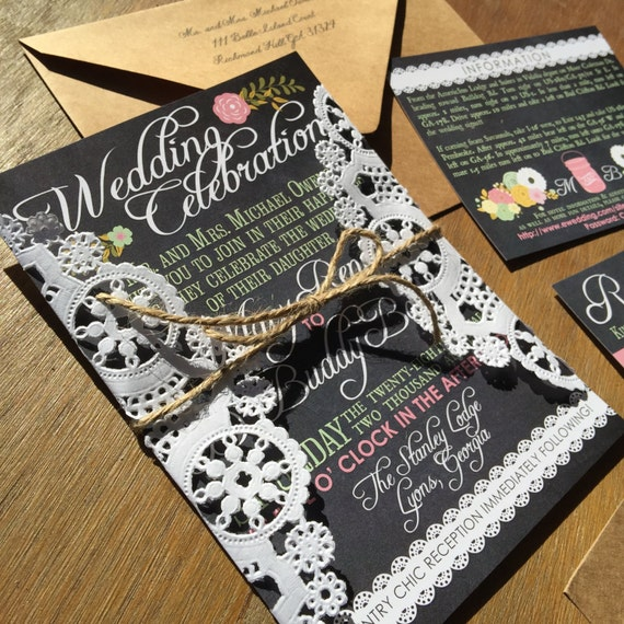 Set of 50 Vintage Chalkboard Lace Country Wedding Invitations & RSVPs