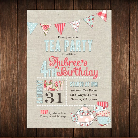 Tea Party Vintage Floral Birthday or Shower Invitation