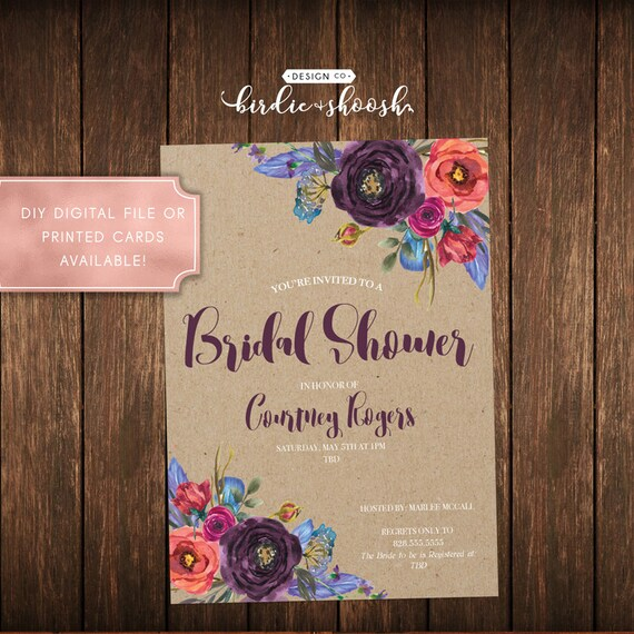 Purple Feather Floral Bridal Wedding Shower Invitation
