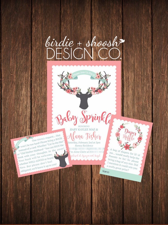 Deer Woodland Baby Wedding Shower Invitation DIGITAL DOWNLOAD