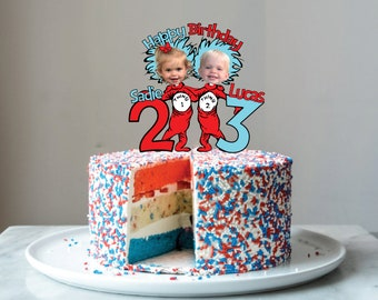 Thing 1 and 2 Custom Photo Birthday Party Cupcake Cake Toppers