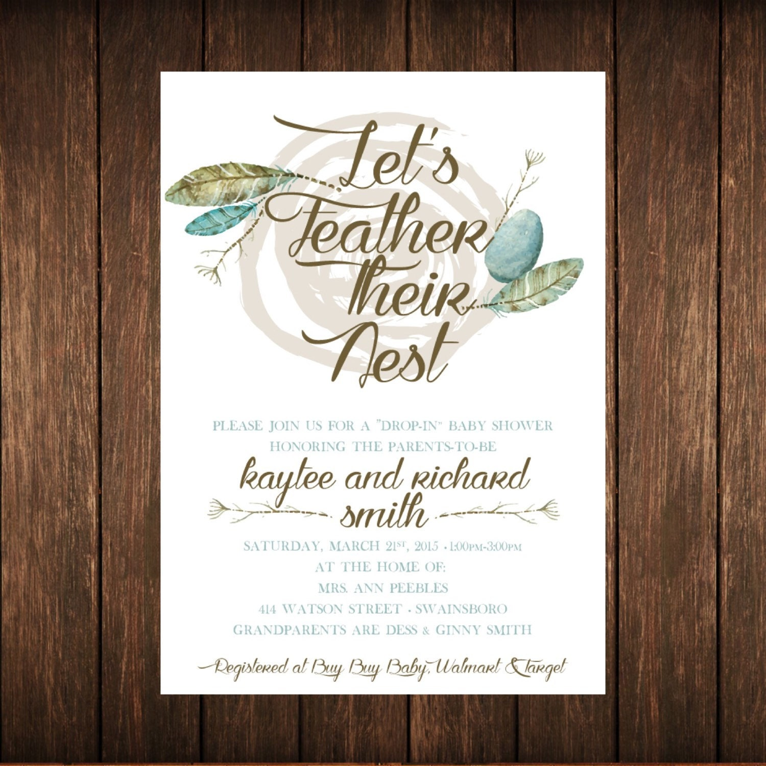 Lets Feather Their Nest Baby Shower Invitation Etsy