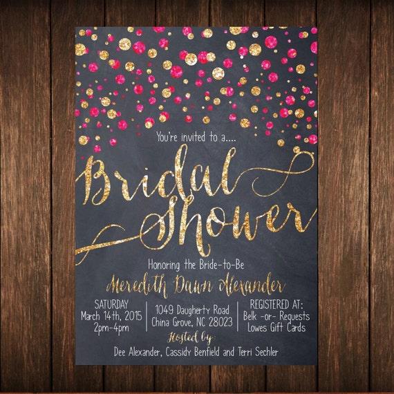 Set of 16 Glamorous Glitter Bridal Shower Invitation + Envelopes