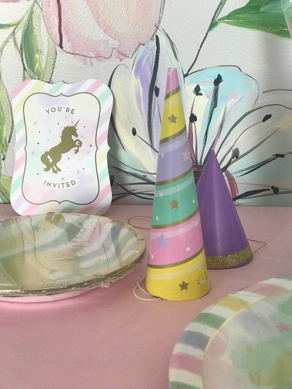 Unicorn Assorted Horn Party Hats (8), Creative Converting Party Horn Hats Assortment, party decor, birthday