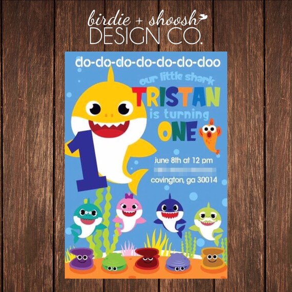 Baby Shark Do Do Doo 1 2 3 4 5 6 7 Custom Birthday Invitation PRINTED or DIGITAL