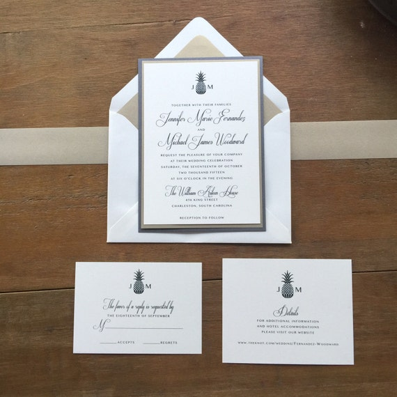 Classic Traditional Raised Ink Wedding Invitation Set