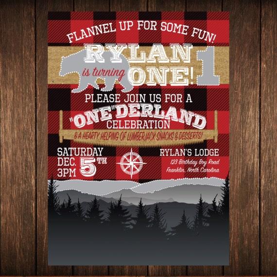 Lumberjack Onederland First Birthday Flannel DIGITAL FILE ONLY
