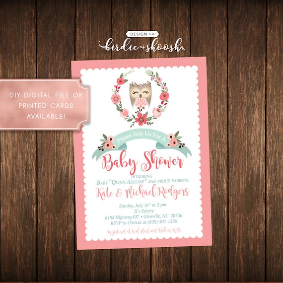 Coral Mint Floral Owl Baby Shower Invitation