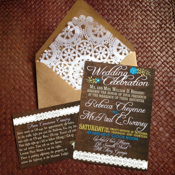 Vintage Country Wedding Invitations & RSVPs