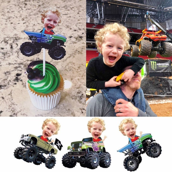 Monster Truck Photo Party Cupcake Cake Toppers