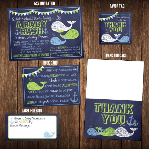 Chalkboard Nautical Whale and Anchor Baby Shower Party Pack