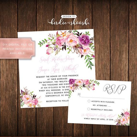 Floral Vintage Bridal Wedding Invitations