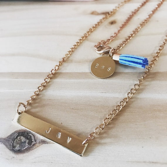 "Custom Rose Gold Necklace Monogram Name Date Birthday Gift 20"""