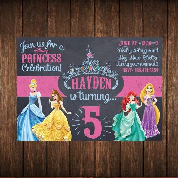Disney Princess Birthday Chalkboard Invitation