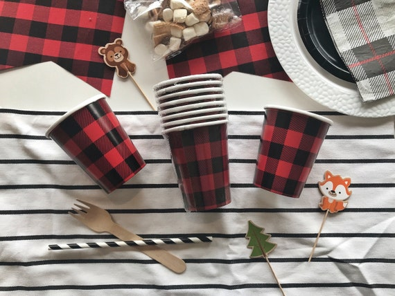 Buffalo Plaid Cups 8ct Adventure Woodland Lumberjack Red Party