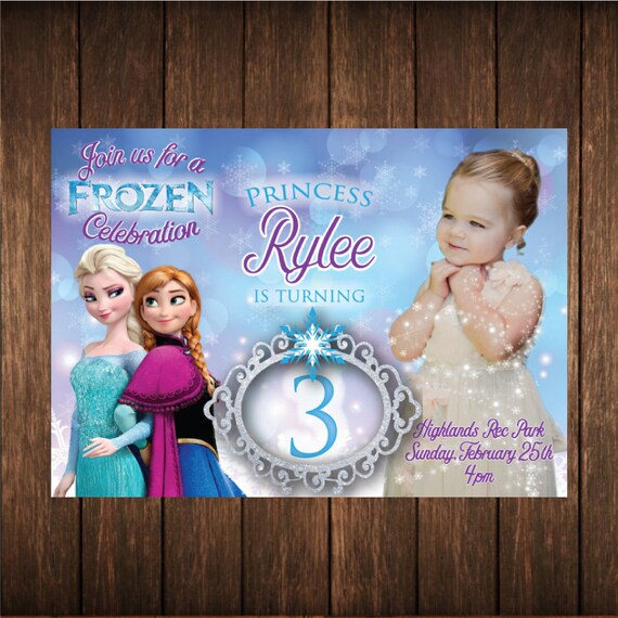 Frozen Princess Birthday Photo Invitation