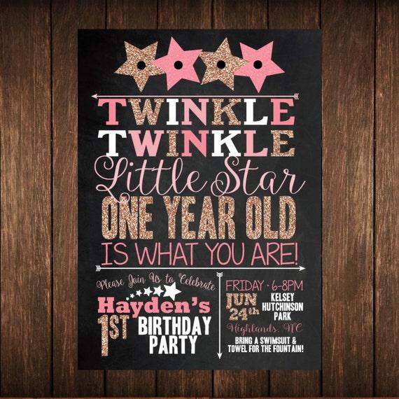 Twinkle Twinkle Star First Birthday Chalkboard Invitation
