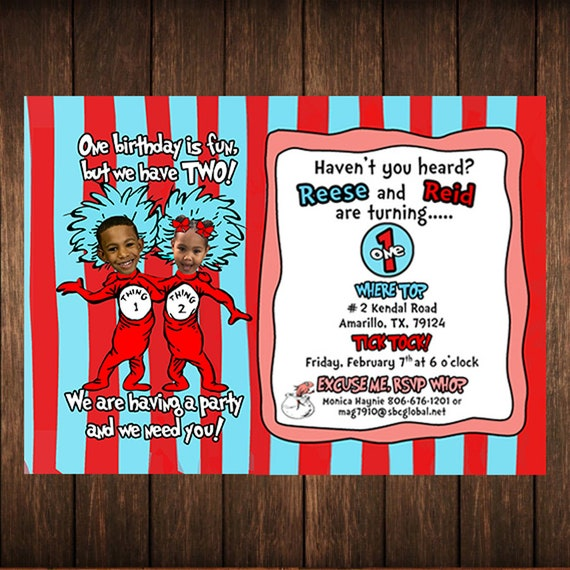 Thing 1 2 Birthday Invitations PHOTO PRINTED