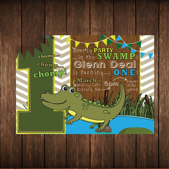 Alligator Gator Swamp Chevron Birthday Invitation