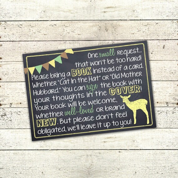 Chalkboard Deer Baby Shower Book Card Digital File