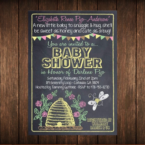 Bumble Bee Baby Shower or Birthday Invitation