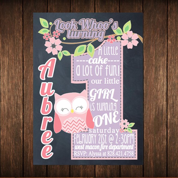 Look whoos Owl First Birthday Chalkboard Invitation