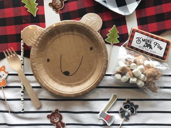Bear Plates 12 ct Adventure Woodland Lumberjack  Plaid Party