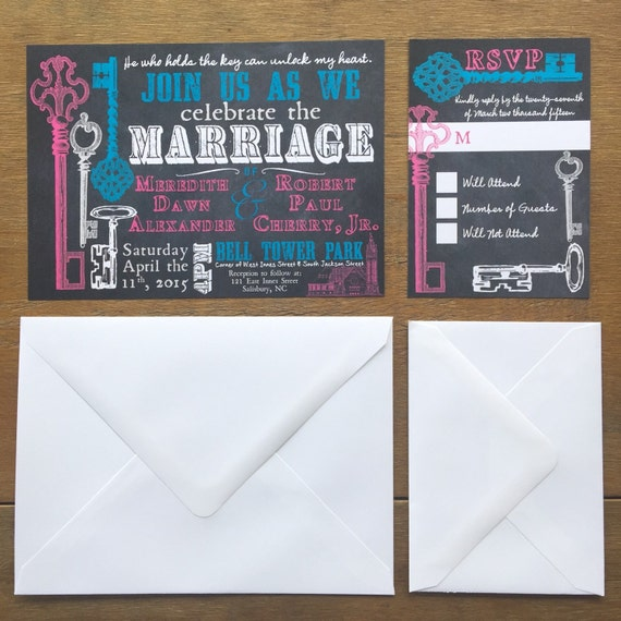Key to My Heart Chalkboard Wedding Invitation