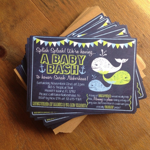 Chalkboard Nautical Whale and Anchor Baby Shower Printable Invitation