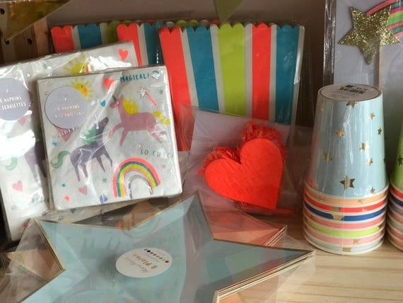 Striped Popcorn Favor Boxes (8), Meri Meri Party Favor, Rainbow Unicorn Magical Birthday, Baby, Shower, Party