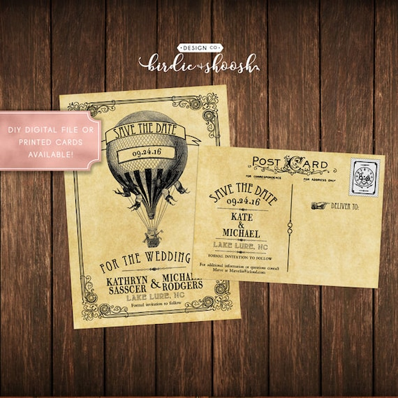 Steampunk Vintage Tattoo Wedding Save The Date Postcard