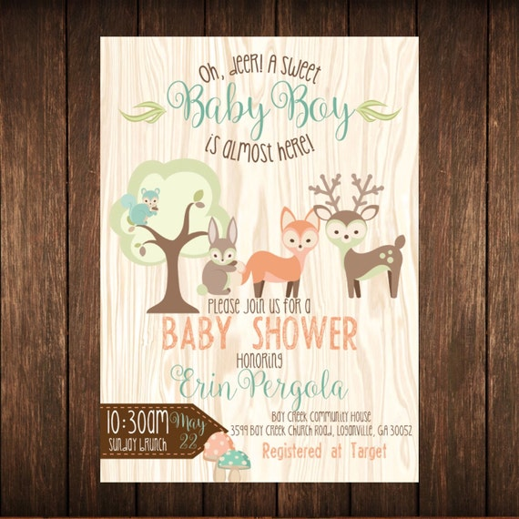 Fox & Deer Animal Shower Chalkboard Invitation