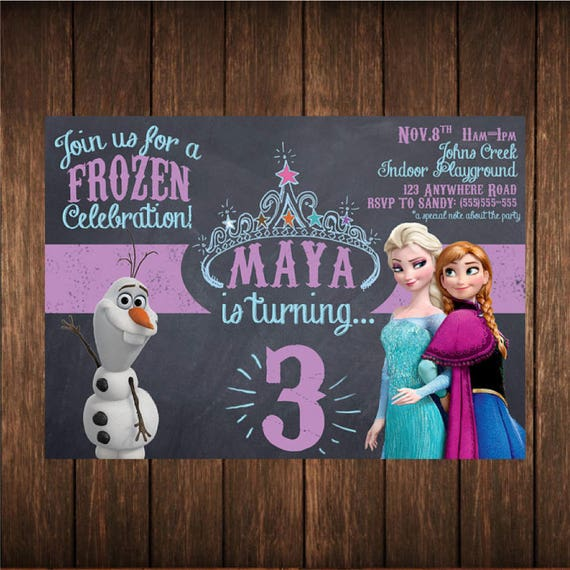 Frozen Princess Birthday Chalkboard Invitation