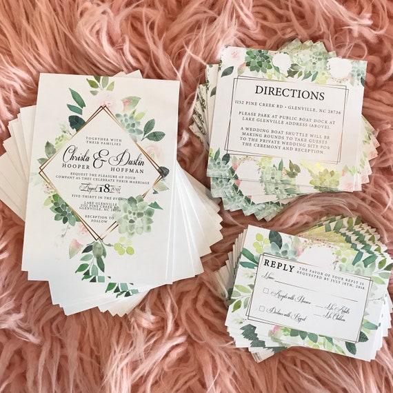 Floral Succulent Rose Gold Vintage Bridal Wedding Invitations