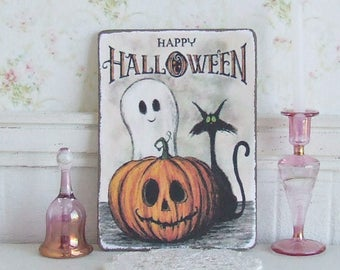 Dollhouse Miniature, Happy Halloween Sign, Pumpkin Picture, Ghost Plaque, Black Cat Print, Scary Decor, Shabby Cottage Chic, 1:12th Scale