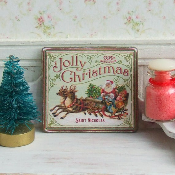 Miniature Christmas signs for dollhouse Xmas sign Vintage style plaques