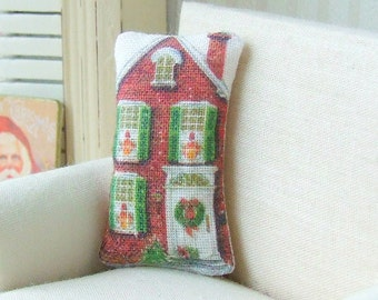 Dollhouse Miniature, Christmas Pillow, Dolls House Cushion, Victorian House, Red and Green, Festive Decor, Shabby Cottage Chic, 1:12th Scale