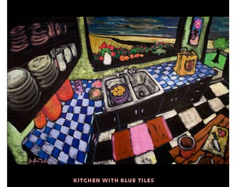 "Kitchen With Blue Tiles • Douglass Truth • 24"" X 36"" original acrylic on canvas painting"