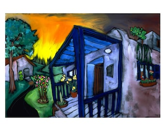 "Archival print of Douglass Truth original painting ""My Blue Porch"""