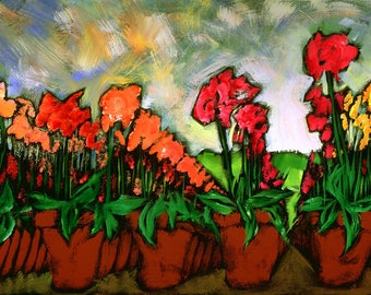 "Archival Print of Douglass Truth original painting ""Army Of Flowers"""