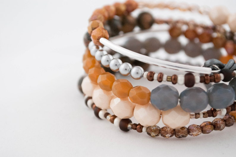 b183031be45c4 Bracelet, Beads, Swarovski Pearls, Leopardskin Jasper, Gemstone beads,  Glass beads,Sterling Silver tubes, Leather cord, Memory wire.