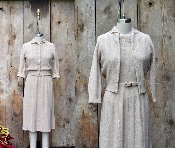 vintage 1950s knit dress set + 50s two piece dress
