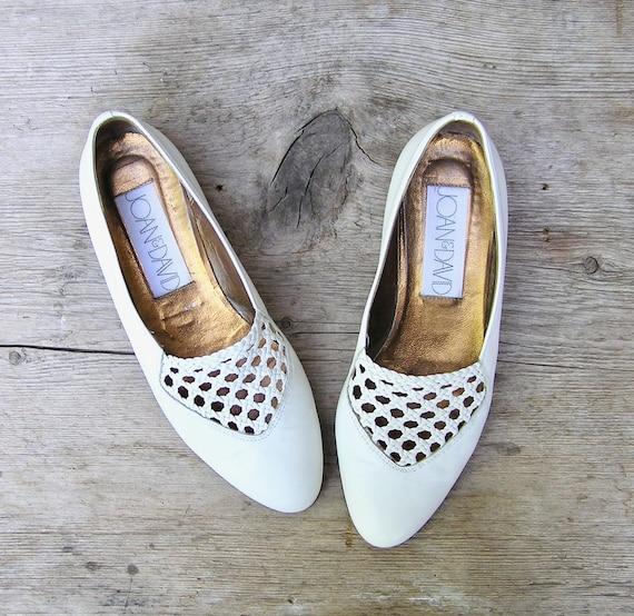 Navy Blue Flats White Flat Espadrilles Palm Pattern Shoes Retro Woven Heels UK 7 Vegan Shoes EUR 41 US 9,5 Vintage Espadrille Shoes
