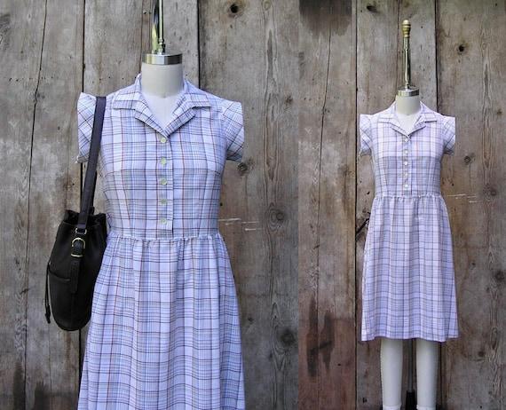 vintage plaid summer dress + 1980s vintage cotton