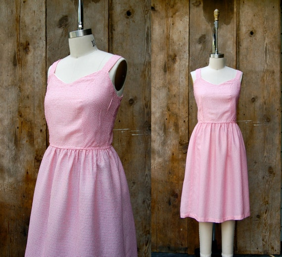 c. 1960s sundress + vintage 60s pink and white che