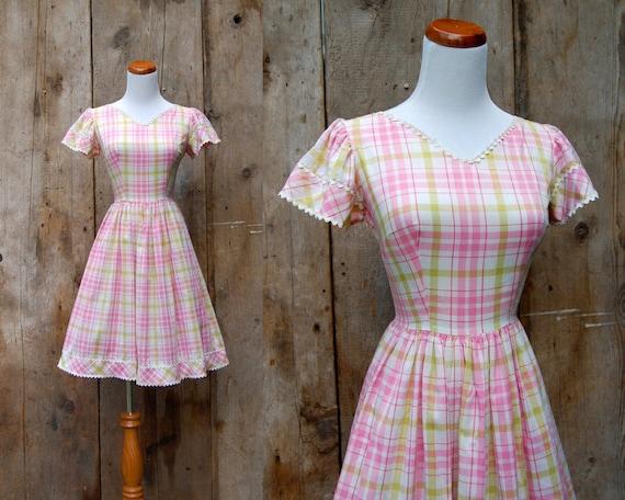 c. 1950s plaid dress + vintage 50s 60s plaid day d